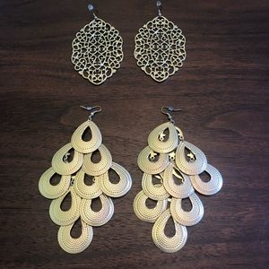 Two pair of BoHo gold tone large earrings.